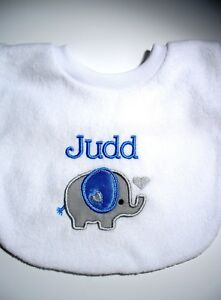Personalised-Baby-Bib-Elephant-Great-Gift-New-Baby-Twins-Name-Day-Any-Name