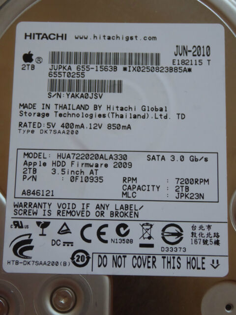 Hitachi HUA722020ALA330 | MLC: JPK23N | 0F10935 | JUN-2010 | 2TB disque dur #03