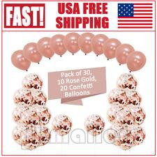 US Rose Gold Confetti Foil Balloons 12'' 30PCS Party Birthday Wedding Decor Set