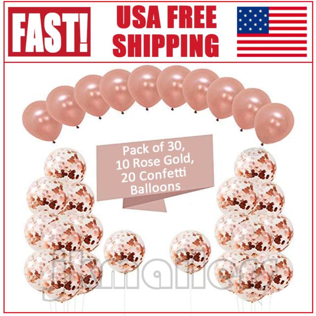 "20x Latex Confetti Balloons Rose Gold 12/"" Wedding Birthday Party Christmas Decor"