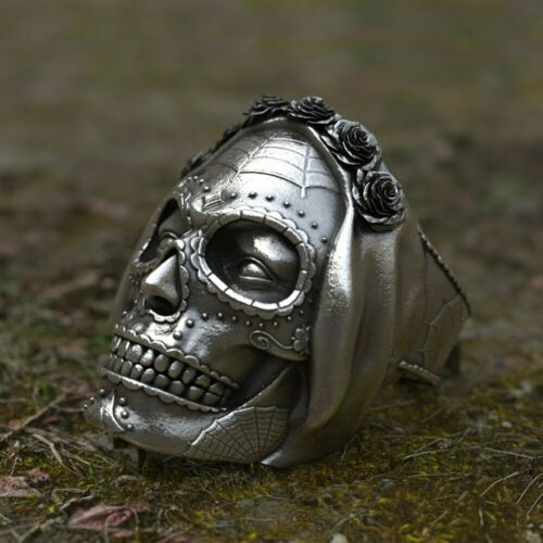 Punk Gothique Crâne Bijoux Bague Vintage Cool Mode Motard Bande Santa Muerte