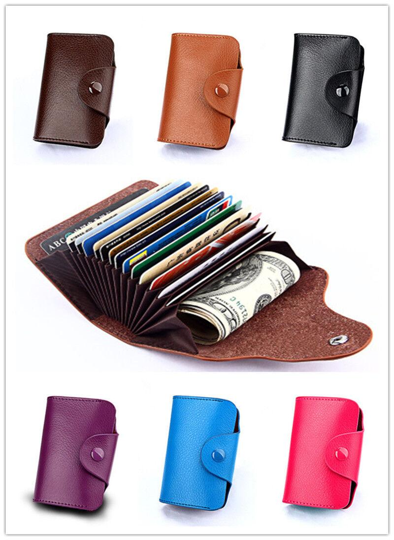 Leather Genuine Wallet Blocking Holder Credit Card Case Men Women Money Pocket