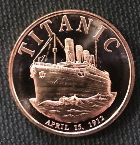 1 OZ .999 COPPER ROUND 1912 TITANIC APRIL 15