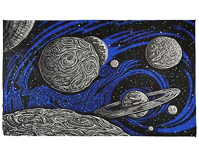 2 Sizes 3D Galactic Outer Space Tapestry Sci-Fi Wall Art Planets Stars Galaxy