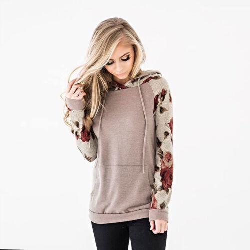 Womens Hoodies Langarmshirt Patchwork Sweatshirt Pullover Pullover Kapuze Tops