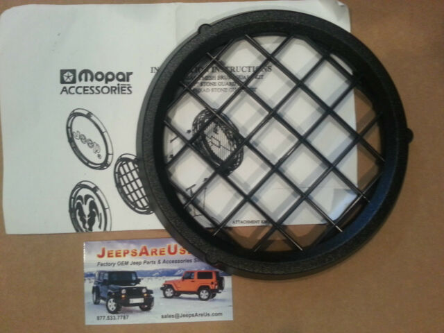 Wrangler TJ Black Mesh Brush Guard Fog Light Foglight Cover Kit Set L/R 82202585