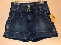 Hudson Pleated Flare British Flag High Rise Vintage Denim Cuffed Shorts 24