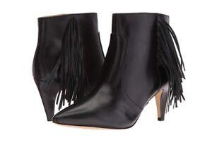 Near-New-Nine-West-Black-Jetra-Fringe-Leather-Boots-Size-9