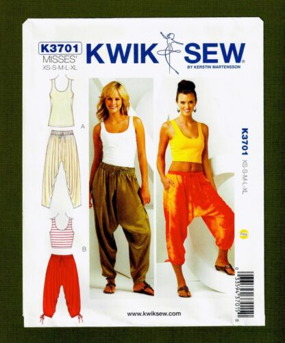 Kwik Sew 3701 Sizes XS-XL Misses Harem Pants /& Tops Sewing Pattern~2 Styles!