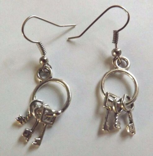 Boucles d/'oreilles argentées trousseau de clés 26x13 mm