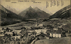 Fulpmes-Stubai-Tirol-s-w-AK-1921-Panorama-mit-Kirchdach-Habicht-Wilder-Pfaff-u-a