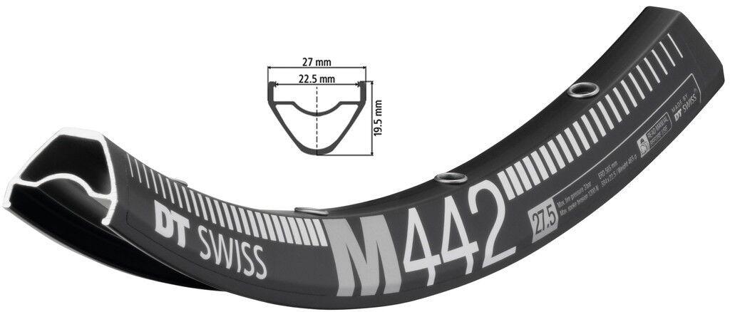 DT Swiss M 442 Fahrrad Felge Schwarz // 584-22,5 (27,5″) Disc