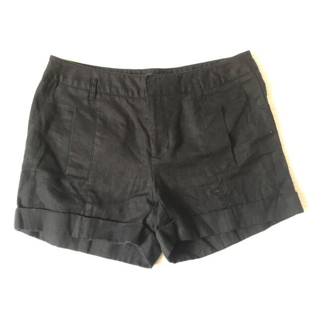 Daisy Fuentes Moda Black Shorts Size 6 Cuffed Chinos Short Workwear