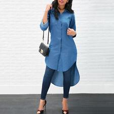 a83d534c9c item 1 Women Casual Denim Jean Blouse Tops High Low Long Sleeve Mini Shirt  Dress Button -Women Casual Denim Jean Blouse Tops High Low Long Sleeve Mini  Shirt ...