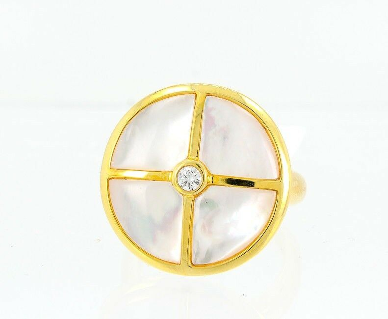 14K Yellow gold Womens Diamond Ring Natural Mother of Pearl Shell
