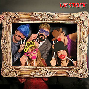 Photo-Booth-Large-Picture-Frame-amp-24-Pcs-Set-photo-props-Funny-Faces-Party-Home