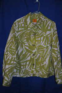 Womens-RUBY-RD-Green-White-Patterned-Blazer-size-12