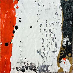 Original Acrylic Abstract Cardboard Painting Orange White Katie Jeanne Wood