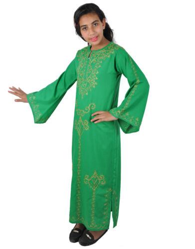 Bambini Ragazza Kaftan abito costume principessa verde//oro nel 70er Look-kk00144
