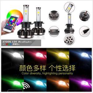 2X Car Auto H7 RGB Color Changing LED Headlight Kit Phone APP Controller Light