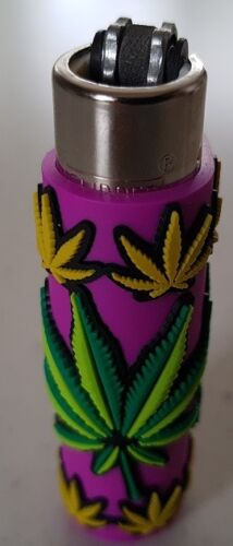 Clipper-super-lighter-gas-refillable-collectable-unique-rubber-case-weed-design