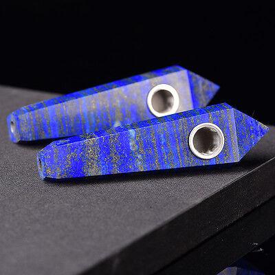 Natural Lapis Lazuli Gemstone Crystal Wand Smoking Pipe reiki healing