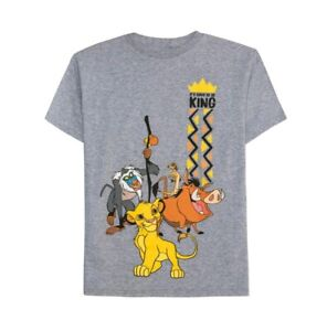 Disney The Jungle Book Boys Gray Good To Be King Short Sleeve Graphic Shirt New