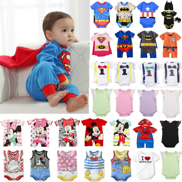 Toddler Newborn Baby Boy Girl Cartoon Romper Bodysuit Jumpsuit Outfit Clothes Baby Boys Girls Clothing Sale UK Sale