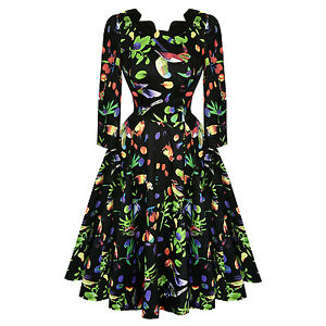 Hearts-amp-Roses-London-Midnight-Tropical-Floral-Bird-Retro-1950s-Flared-Tea-Dress