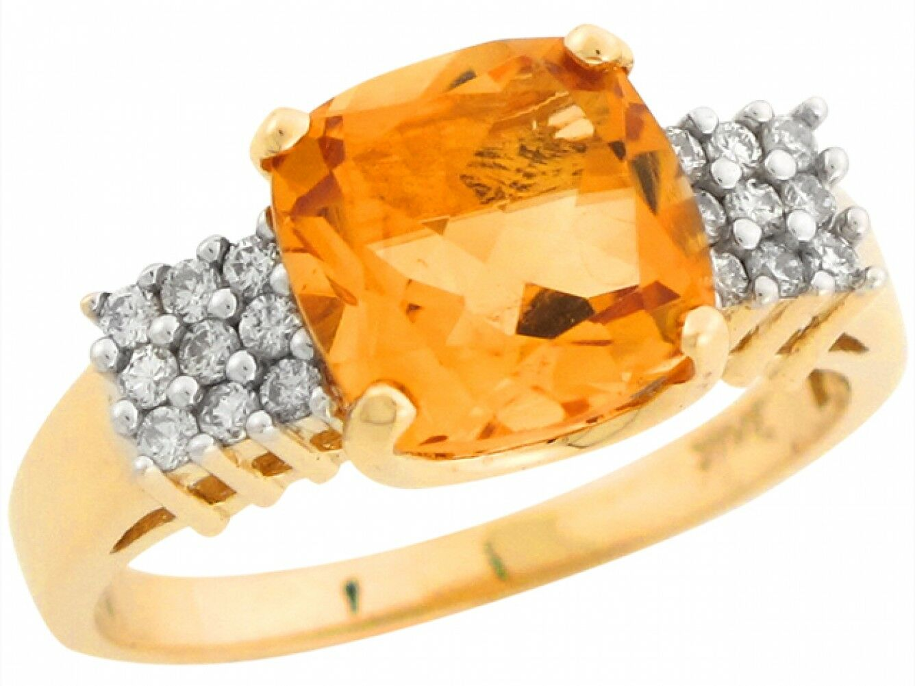10k or 14k Real Two Tone gold Citrine Diamond Accent Brilliant Ladies Ring