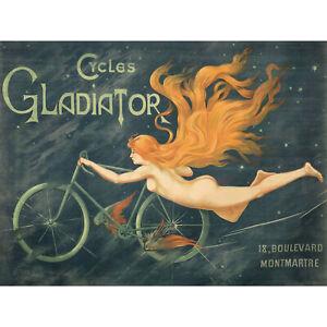 Massias-Gladiator-Cycles-Nude-Woman-Advert-XL-Canvas-Art-Print