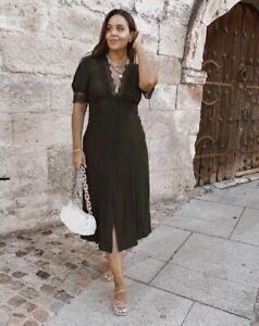 Zara-Vert-Kaki-Midi-robe-avec-bordure-en-dentelle-taille-XL-bloggers-favorite-BNWT