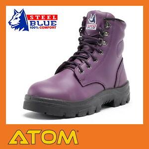 a2631650 Details about Steel Blue Ladies Argyle: Steel Toe Work Boots Purple - 512702