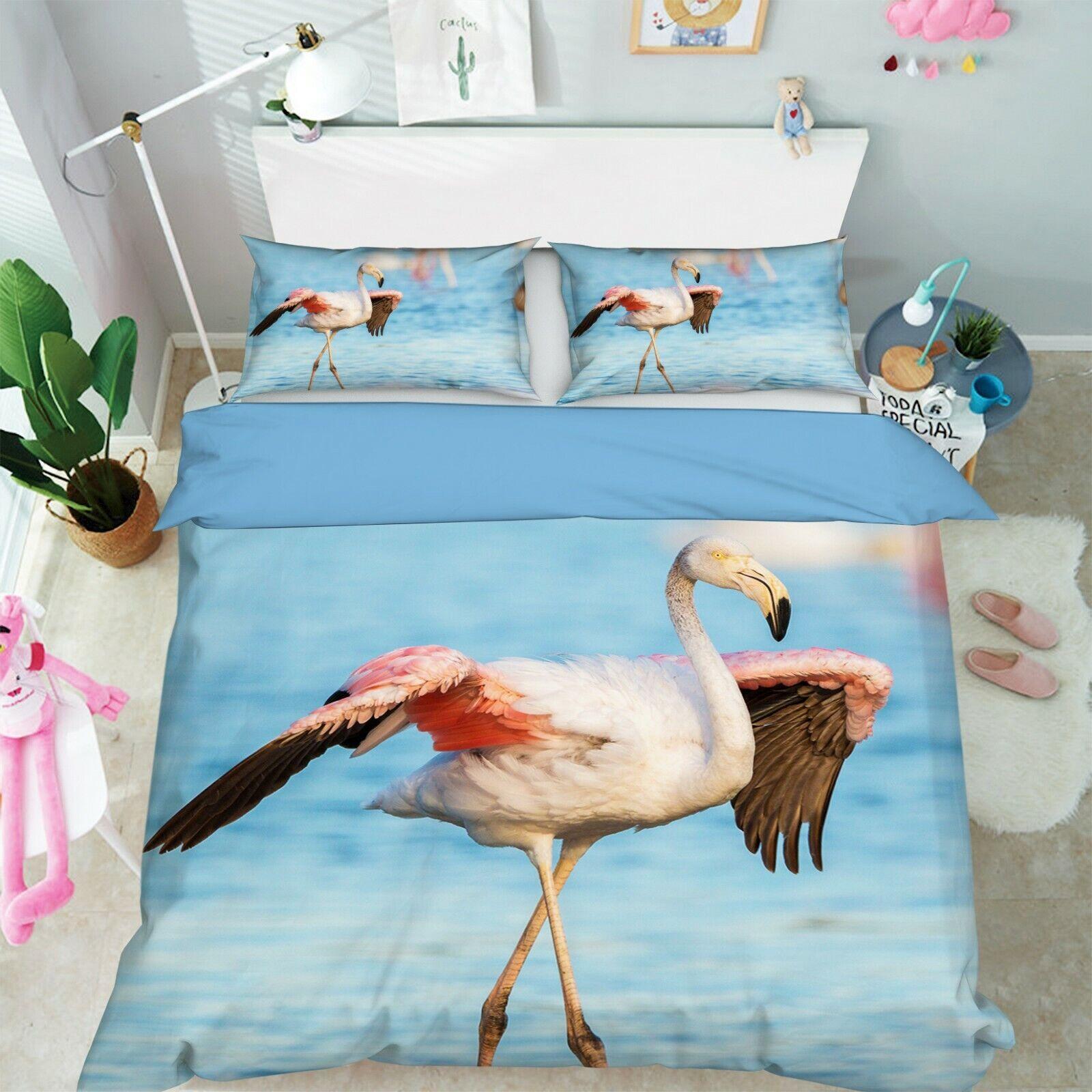 3D Flamingo Sea P61 Animal Bed Pillowcases Quilt Duvet Cover Set Queen King Zoe