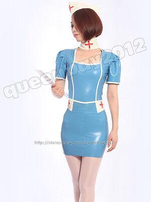 100% True 100% Latex Rubber Gummi 0.45mm Nurse Dress Uniform Catsuit Skirt Suit Costume Mixed Intimate Items