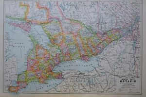 1919-MAP-SOUTH-EAST-ONTARIO-PRINCE-EDWARD-TORONTO-ESSEX-KENT-HURON-MUSKOKA