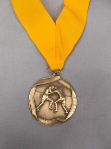 """gold  WRESTLING 2 1//2/"""" dia medal white neck drape"""