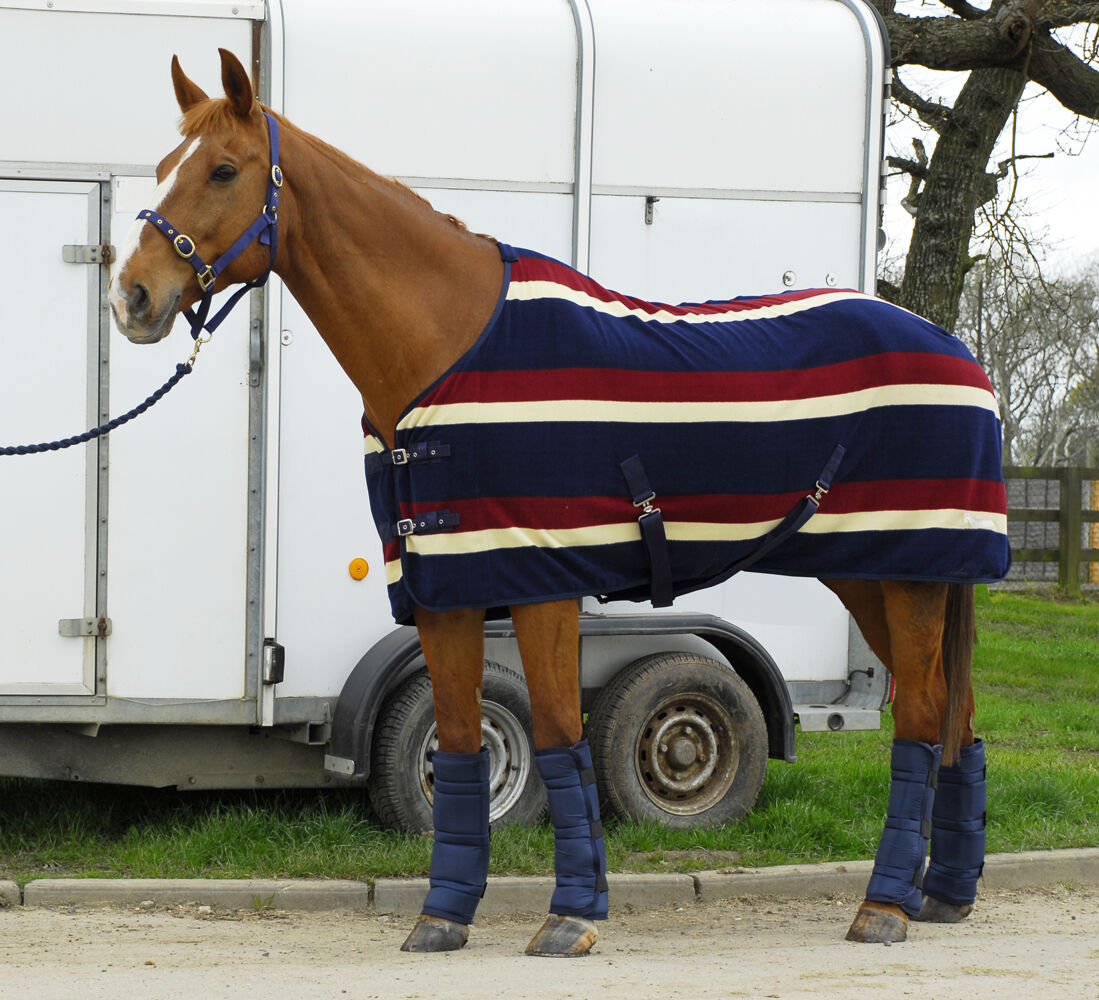 Rhinegold Elite Fleece Rug - 6'0 - Burgundy Stripe