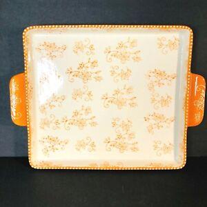 Temptations by Tara, Orange Floral Lace pattern, serving/baking dish w/handles