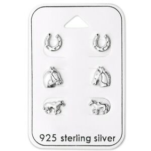Horse-Lovers-Sterling-Silver-Stud-Earrings-3-Pairs-Carded-Anti-Tarnish