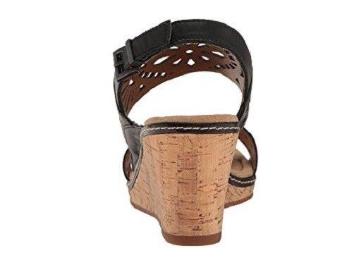 Easy Spirit Kristina wedge sandals leather black black black 3  heels sz 10 Med NEW fe7e23