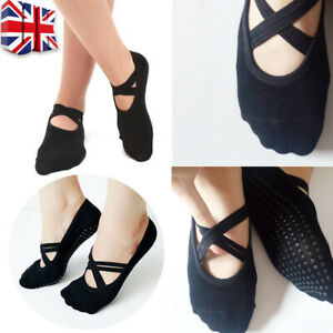 Yoga Socks Non Slip Ballet Sports Gym Exercise Grip Cotton Pilates For Women UK