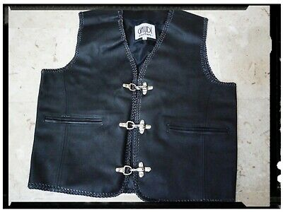 Gilet In Pelle Gaudi' Leather Biker Outlaw Taglia L Elaborato Finemente