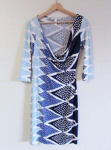 Diane-Von-Furstenberg-Sz-US-8-AU-10-Geometric-Print-Silk-Jersey-Cowl-Neck-Dress