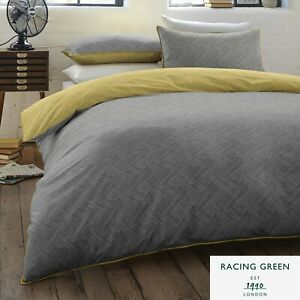 Racing Green DENTON Duvet Cover Set - 180 TC Easy Care Bedding - Grey and Ochre
