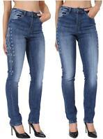 Womens, Ladies Ex High Street Embroidered Straight Leg Denim Jeans