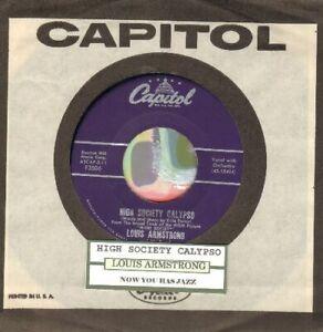 Armstrong-Louis-High-Society-Calypso-Vinyl-45-rpm-record-Free-Shipping