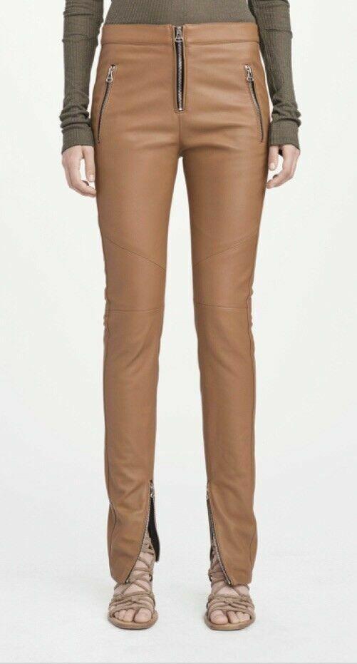 NEW Rag & Bone Daniela Slim Leather Trousers Cognac Brown Zippers NWT Size 2 4