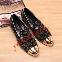 Mens Tassel Rivet Slip On Loafers Leather Hair Style Formal Dress Shoes Oxfords