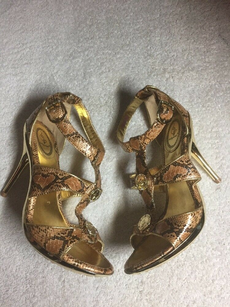 Baby Phat Women's gold Snakeskin Print Ankle Strap Dress Heels shoes Size 7.5 B